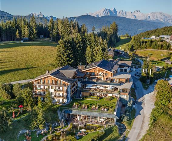 Bird's eye view of the Hotel Edelweiss in Wagrain