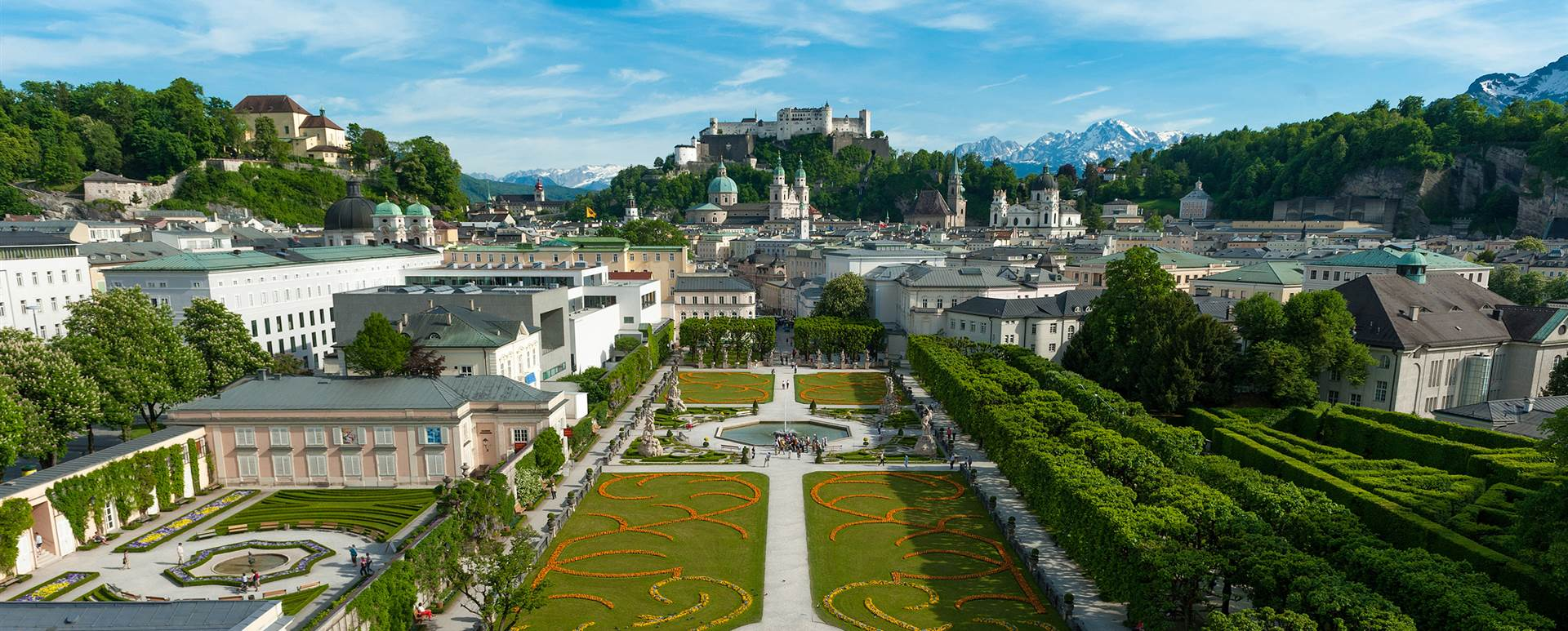 Mirabell Gardens Salzburg with fortress in the background